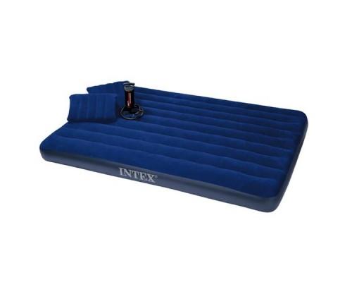 Двуспальный надувной матрас Intex 68765 + 2 подушки (152х203х22см)