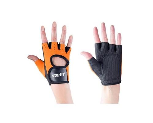 Перчатки для фитнеса STARFIT SU-107 оранжевые/черные р.S