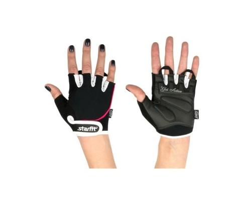 Перчатки для фитнеса STARFIT SU-111 черные/белые/розовые р.XS
