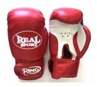 Перчатки для кикбоксинга REALSPORT RS112 12 унций, красные