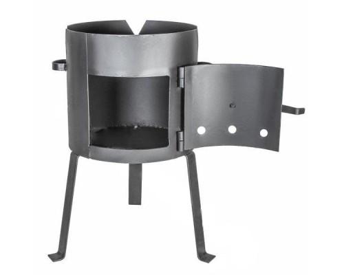 Печь для казана с дверцей усиленная на 12 литров