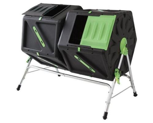 Вращающийся компостер Helex двойной 2х105 л черный/зеленый