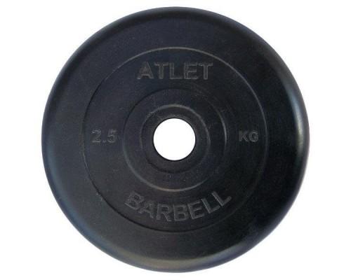 Диск обрезиненный черный Atlet Barbell d-26 2,5 кг