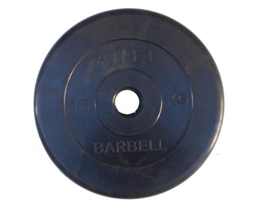 Диск обрезиненный черный Atlet Barbell d-31 15 кг