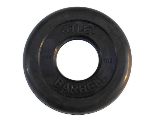 Диск обрезиненный черный Atlet Barbell d-51 1,25 кг